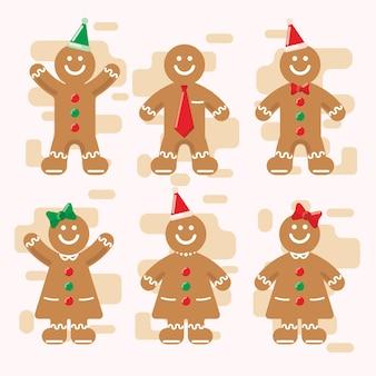 Weihnachtsingwer-brot-charakter-satz im flachen design