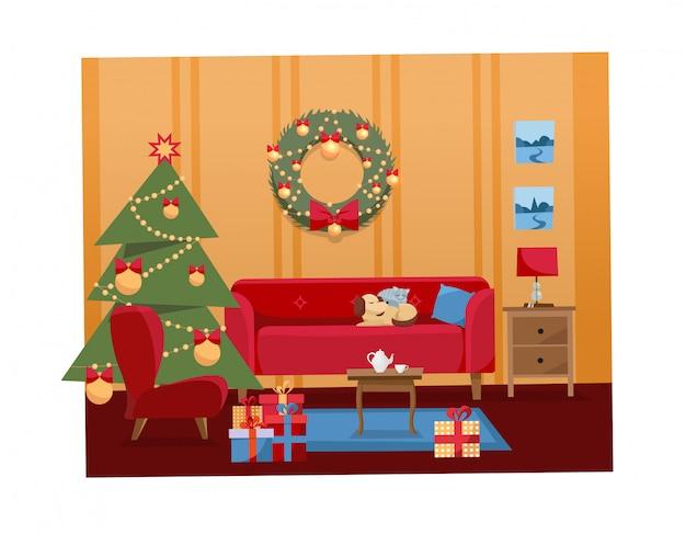 Weihnachtsinnenillustration des wohnzimmers verziert für feiertage