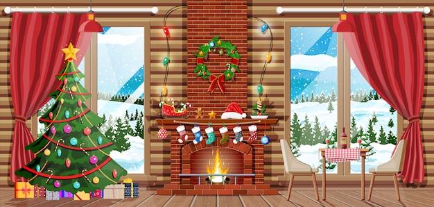 Weihnachtsinnenraum des raumes mit baum