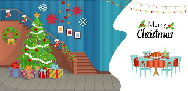 Weihnachtsinnenraum mit einer treppe weihnachtsbaum-feiertagstisch mit essen