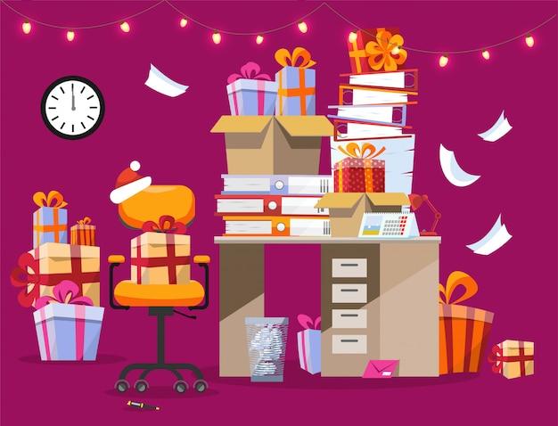 Weihnachtsinnenraum mit schreibtisch mit stapel von geschenken und von ordnern mit papieren.