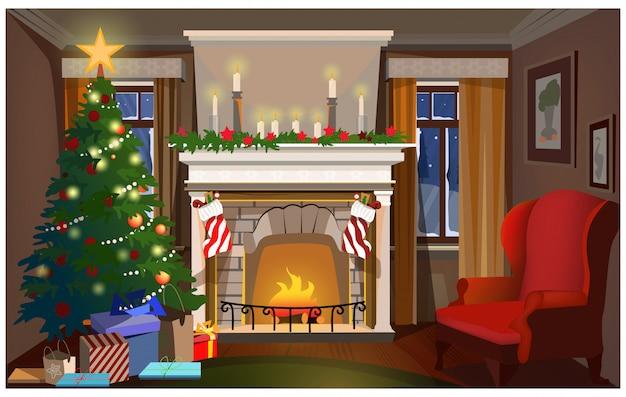 Weihnachtsinnenraum mit verziertem tannenbaum, kamin und sessel