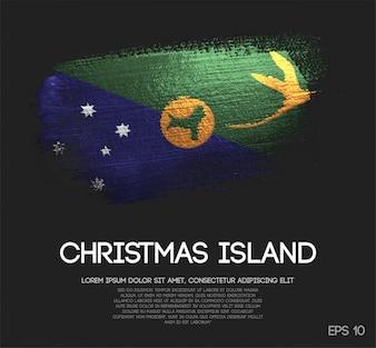 Weihnachtsinsel-Flagge gemacht von der Funkeln-Schein-Bürsten-Farbe