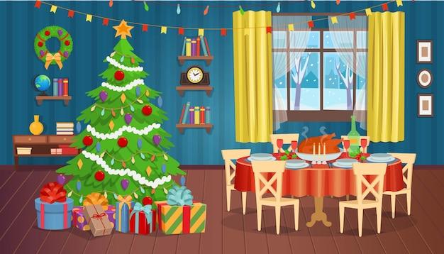 Weihnachtsinterieur mit kamin weihnachtsbaumfenster und sesselnvektorillustration
