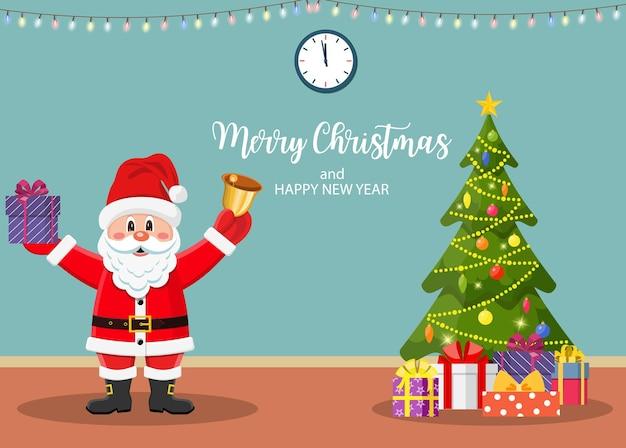 Weihnachtsinterieur mit tür und baum