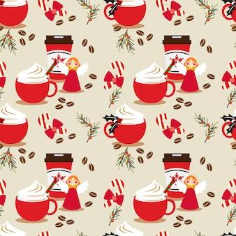 Weihnachtskaffee nahtlose muster.