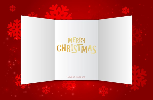 Weihnachtskalender türen. adventsfenster, festliches weihnachtsgeschenk. offene karte oder einladung des leeren papiers. winter neujahr hintergrund schneeflocken. dezember-vektor-illustration. dekoration kalender weihnachten