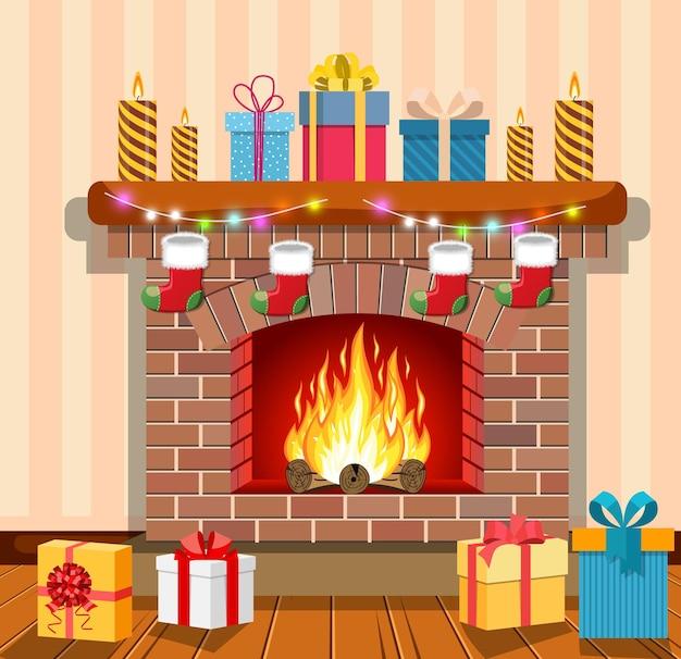 Weihnachtskamin im innenraum