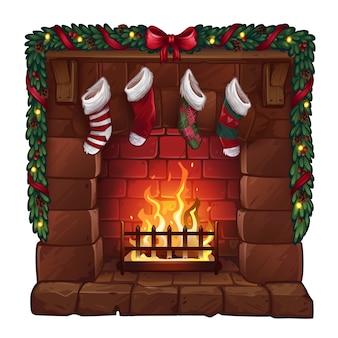 Weihnachtskamin lokalisiert auf weiß. illustration