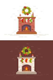 Weihnachtskamin lokalisierte illustration in der flachen art