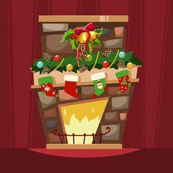 Weihnachtskamin mit einem mantel, strümpfen für geschenke und stechpalmenbeerenblättern mit einer glocke. karikatur von weihnachtsfestlichen dekorationen