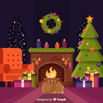 Weihnachtskamin-szenenhintergrund