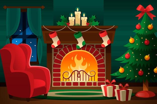 Weihnachtskamin-szenenkonzept im flachen design