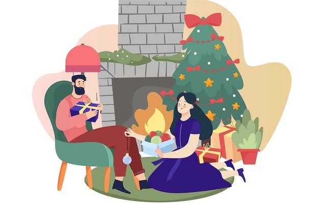 Weihnachtskamin-szenenkonzept in der hand gezeichnet