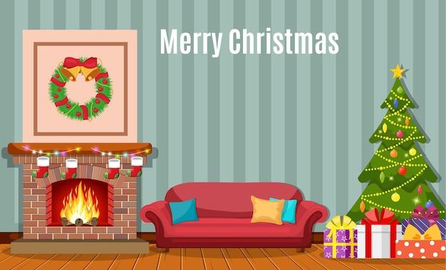 Weihnachtskaminrauminnenraum