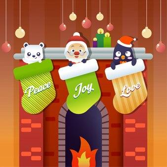 Weihnachtskaminstrümpfe
