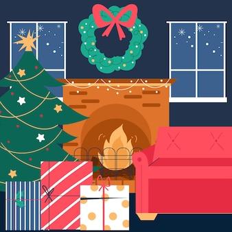 Weihnachtskaminszene im flachen design