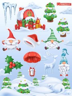 Weihnachtskarikatur 3d vektor icon set. weihnachtsmann, weihnachtsmütze, zwerge, baum, geschenk, eiszapfen, stechpalme, lebkuchenhaus