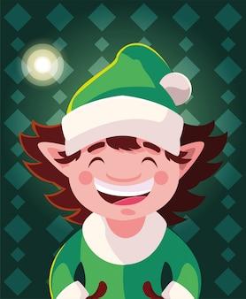 Weihnachtskarikatur der elfe mit hut