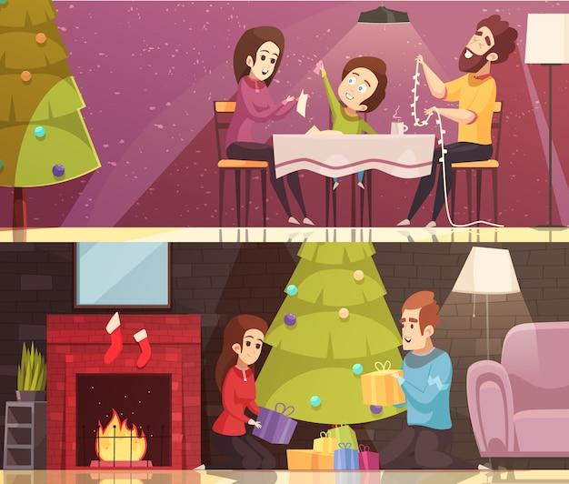 Weihnachtskarikatur-fahnensatz