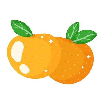 Weihnachtskarikatur festliche orange mandarinen. frohe weihnachten und ein glückliches neues jahr-konzept.