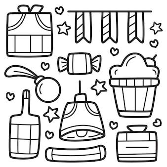 Weihnachtskarikatur gekritzel färbung design illustration