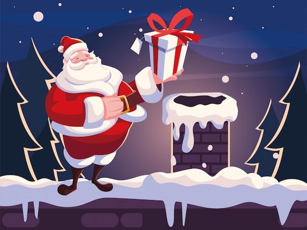 Weihnachtskarikatur von weihnachtsmann mit geschenkbox auf dem dach