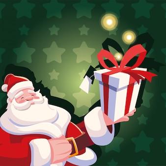 Weihnachtskarikatur von weihnachtsmann mit geschenkbox