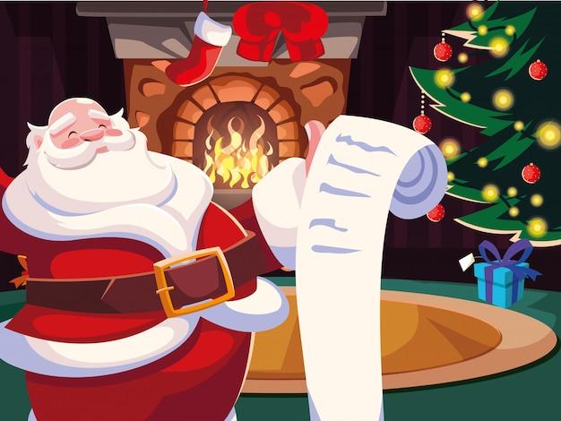 Weihnachtskarikatur von weihnachtsmann mit geschenkliste