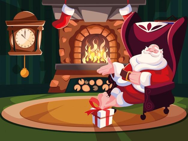 Weihnachtskarikatur von weihnachtsmann sitzend auf sofa