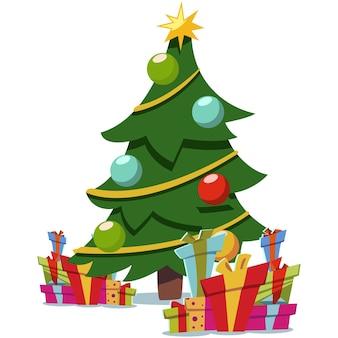 Weihnachtskarikaturbaum verziert und stapel von geschenkboxen. flaches symbol lokalisiert auf weißem hintergrund.