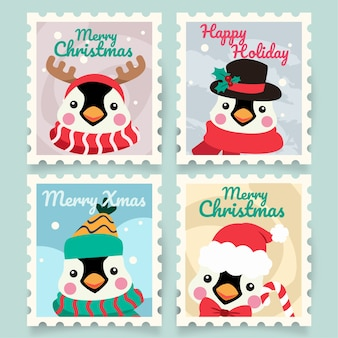Weihnachtskarikaturstempel mit pinguin