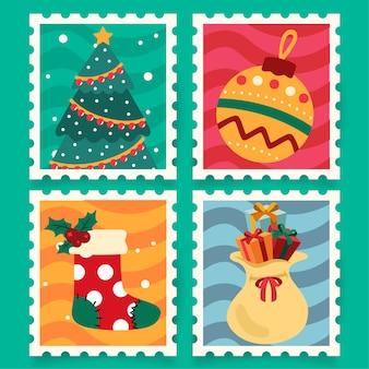 Weihnachtskarikaturstempel mit weihnachtsbaum
