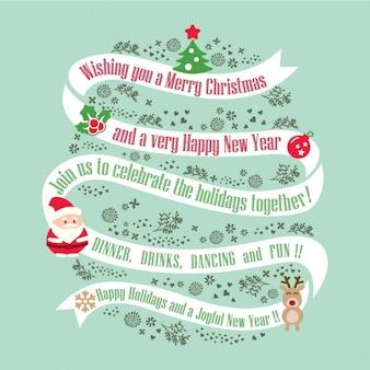 Weihnachtskarte design-hintergrund mit band