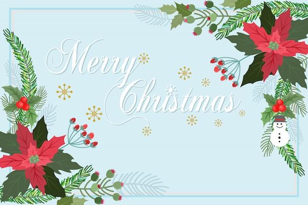 Weihnachtskarte design mit blumen pflanze.