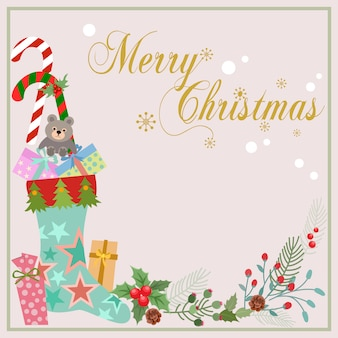 Weihnachtskarte design socke und geschenk mit blumen pflanze.