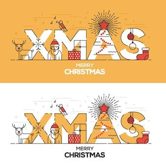 Weihnachtskarte flache linie