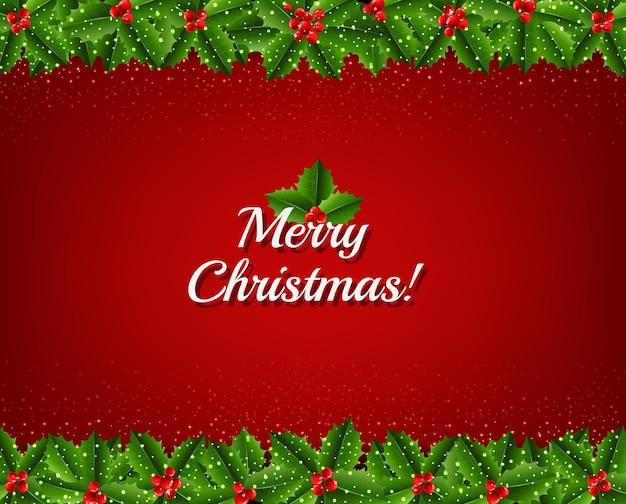 Weihnachtskarte girlande mit holly berry
