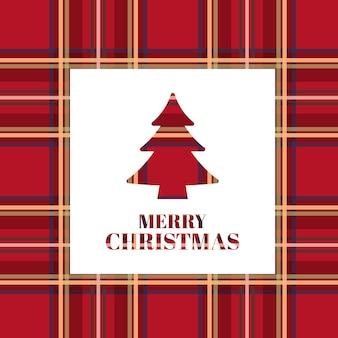 Weihnachtskarte. heller weihnachtsbaum mit schottischer textur.