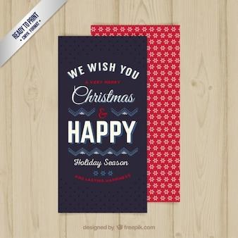 Weihnachtskarte in rot einen dunkelblauen farben