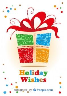 Weihnachtskarte mit bunten geschenk