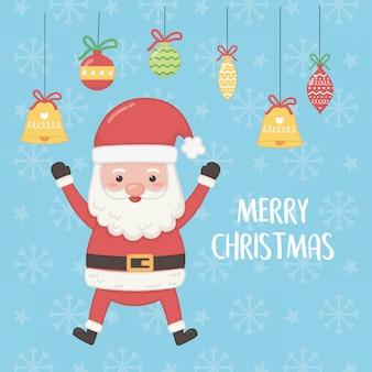 Weihnachtskarte mit dem weihnachtsmann- und kugelhängen