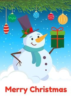 Weihnachtskarte mit einem glücklichen schneemann in einem hohen hut. vektor-illustration.