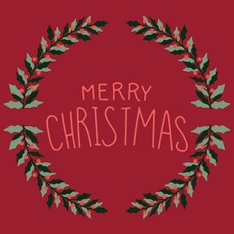Weihnachtskarte mit einem kranz und einem bild.