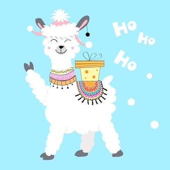 Weihnachtskarte mit einem lama und einem geschenk auf blauem grund. vektor-illustration