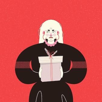 Weihnachtskarte mit einem modischen mädchen in einem schwarzen kleid, das eine geschenkbox hält