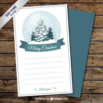 Weihnachtskarte mit einem schneekugel