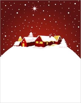 Weihnachtskarte mit einer nachtansicht einer stadt im schnee. hintergrund für plakat, banner oder grußkarte