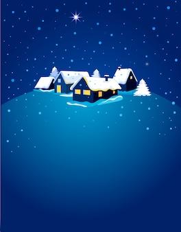 Weihnachtskarte mit einer nachtansicht einer stadt im schnee