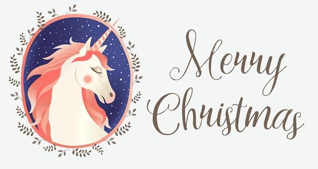 Weihnachtskarte mit einhorn